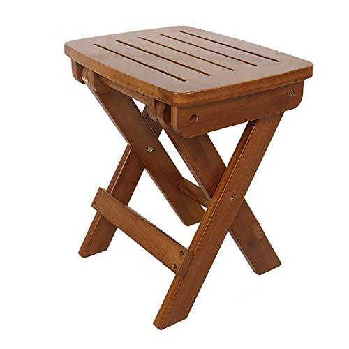 QIDI Tabourets Chaise Bambou Simple Moderne Pliable Facile à Porter Ménage Extérieur - Rayé/Panneau Entier (Couleur : Brown (Striped), Taille : Large)