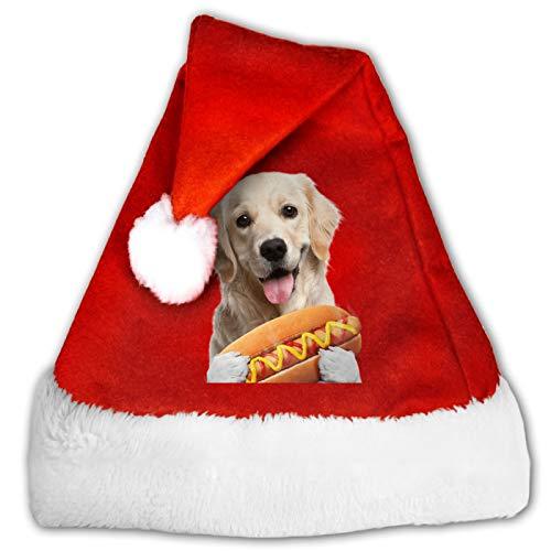 Funny Dog Hot Dog Unisex Santa Hat,Comfort Red and White Plush Velvet Christmas Party Hat