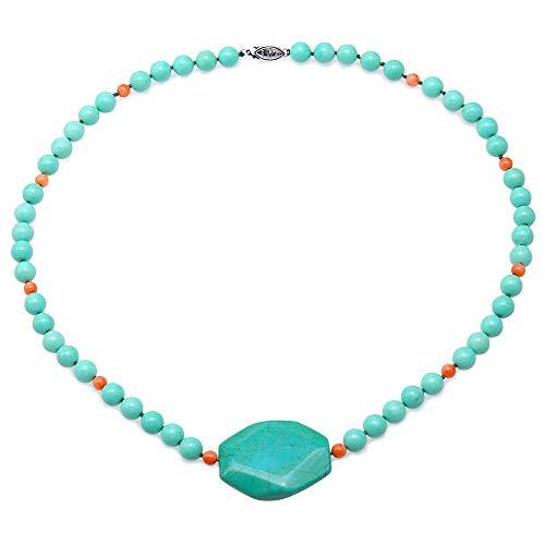 JYX - Collana con ciondolo a forma di turchese da 8,5 mm, fatta a mano, con perle rotonde, lunghezza 55,9 cm