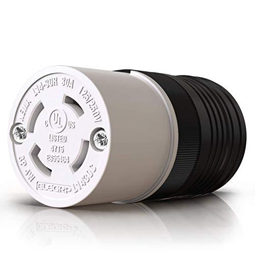 ELEGRP NEMA L14-30R Locking Connector, Generator Twist Lock Adapter Female Connector, 30 Amp 125/250V 3 Pole 4 Wire Grounding, Industrial Grade Heavy Duty, UL Listed (1 Pack, Black/White)