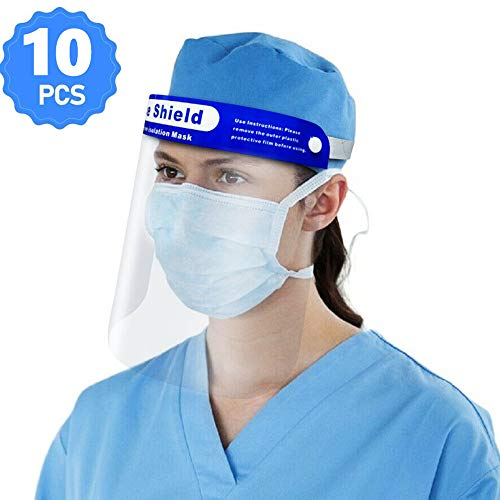 [10 Pack] Gesichtsschutz Schützen Gesichtsschutzschirm Sie Augen und Gesicht mit einem elastischen Schutzfolienband und einem Komfortschwamm,Anti-Spucke Anti-Fog Anti-Spray Anti-Staub-Schutzmaske