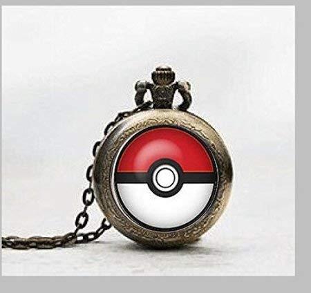 Reloj de bolsillo con colgante de Pokémon, reloj de bolsillo con colgante de Pokémon, reloj de bolsillo con colgante de Pokémon de cristal y joyas de cristal