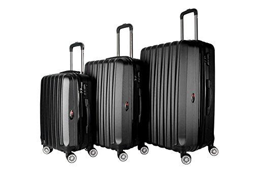 Brio Luggage 3-Piece Hardside Spinner Expandable Suitcase Set #1600 (Black)