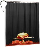 ミサイルサイバーパンクイラストクールシャワーカーテン、バスルームポリエステル防水ファブリックバスタブセットバスルームカーテン装飾用フック付き60 X72インチ-鉄-66x72インチ