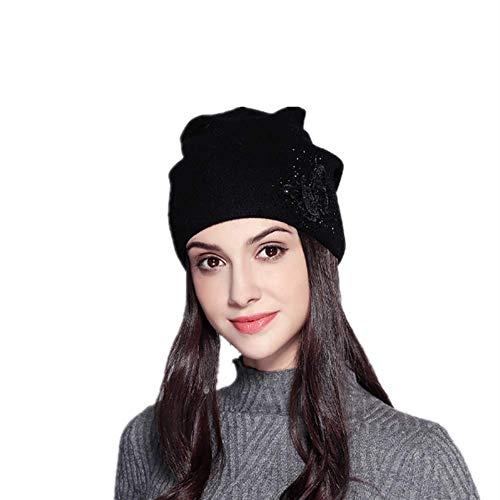 2020 Nuevo Oído Protección Dulce Mariposa Caliente Perforación Lana Sombrero De Las Señoras De Invierno Caliente Sombrero De Punto Grueso Sombrero De Punto - negro - 14 Años