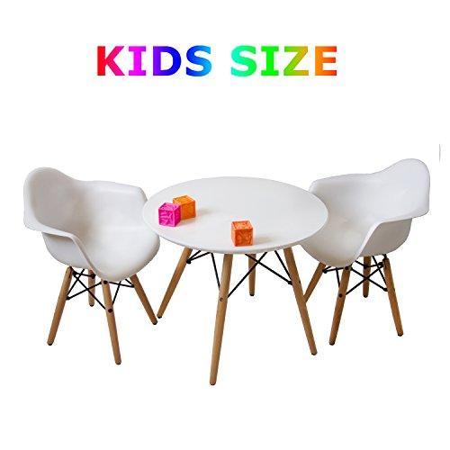 Buschman Muebles para Niños | Conjunto de Mesa y Sillas para los más Pequeños | 2 Asientos de Plástico con Brazos y 1 Mesa Redonda de MDF | Estilo Moderno, Pies de Madera, Base de Acero | Blanco Mate