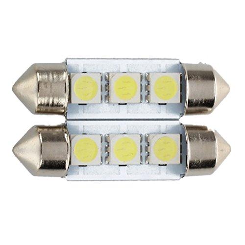 TOOGOO 2x C5W 3 LED SMD 5050 36mm Plaque Xenon Blanc Ampoule navette Festons dome plafonnier voiture lumiere