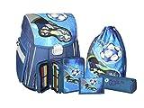 Maximustrade - Set de útiles escolares  azul negro / azul Fußball SET 5 TEILIG
