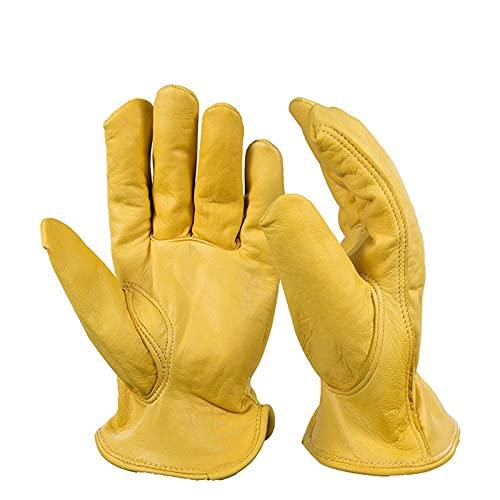 Cockroach Handschoenen, tuinhandschoenen, PU-leer, werkhandschoenen voor heren en dames, met elastische pols, tuin-/snij-/bouw-werkhandschoenen van leer, voor heren en dames