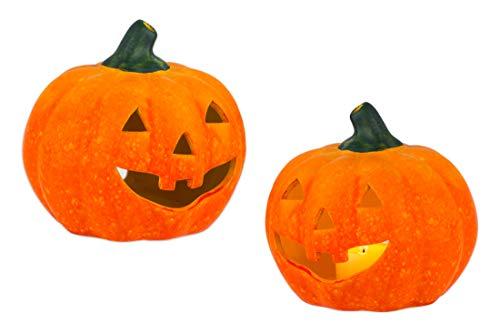 BigDean 2er Set Halloween-Kürbis Windlicht groß - HxD: ca. 13x14 cm - Zierkürbis als Herbstdeko - Aus Keramik - Mit Öffnung für Teelichter - Mottoparty-Deko