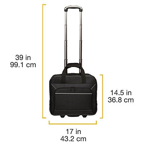 Amazon Basics - Maletín para portátil con ruedas de rápido movimiento y bolsillo delantero accesible, compatible con portátiles de hasta 16pulgadas (40cm)
