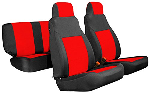 GEARFLAG Neoprene Seat Cover Custom fits Jeep Wrangler TJ/LJ 2003-06 Full Set (Front + Rear Set) (Red/Black fs)