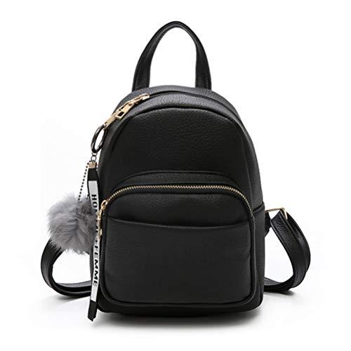 Katech Rucksack Damen Schultertasche Casual wasserdichte Schultasche Daypack Damen Kleinen Rucksack Mädchen Schultaschen Handtasche mit Pom Pom Ball (Schwarz)