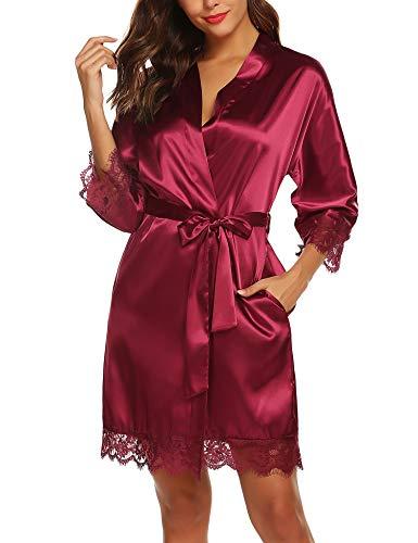 URRU Women's Satin Plain Short Kimono Robe Bathrobe Bride Robes Wine Red S