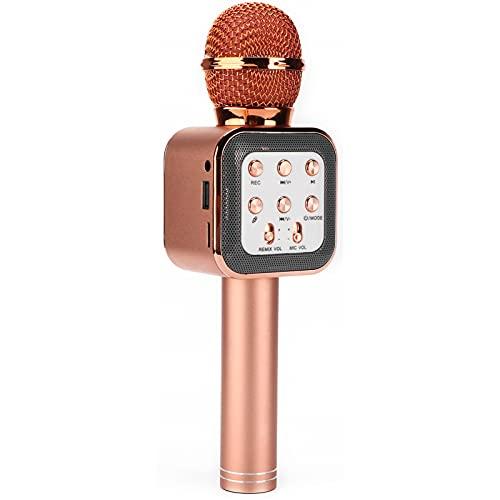 Micrófono, Micrófono Inalámbrico Micrófono De Mano Duradero Para Karaoke De 5 W Portátil Para Fiestas De Karaoke, Reuniones, Hogar, Etc.(Oro rosa)