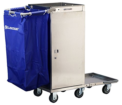 Lakeside 58580 Housekeeping Cart - One Bucket Fold-Up Platform, Stainless Steel, Adjustable Shelves (Fully Assembled)