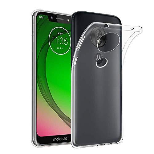 REY Funda Carcasa Gel Transparente para Motorola Moto G7 Play, Ultra Fina 0,33mm, Silicona TPU de Alta Resistencia y Flexibilidad