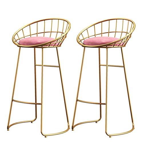 JPL Las sillas de escritorio, Silla de la barra doble, taburetes con las piernas de oro Lron reposapiés y la espalda, sillas de comedor para el desayuno heces, bar, mostrador, cocina y el hogar,Rosad