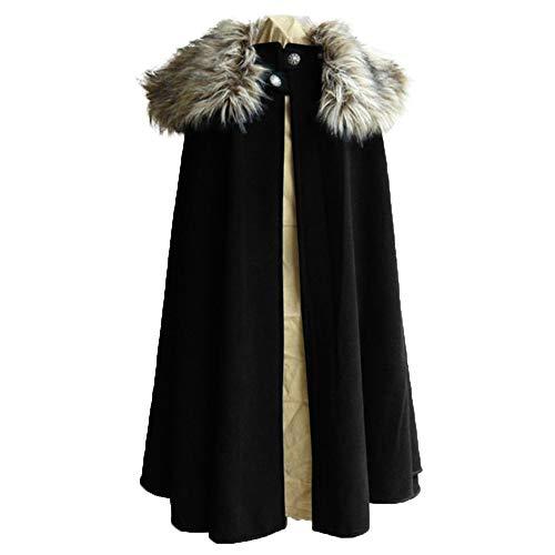 Heflashor Herren Mittelalter Umhang mit Pelzkragen Gothic LARP Mittelalter Wollmantel Retro Steampunk Open Front Cardigan Mantel Halloween Cosplay Party Cape Kostüm