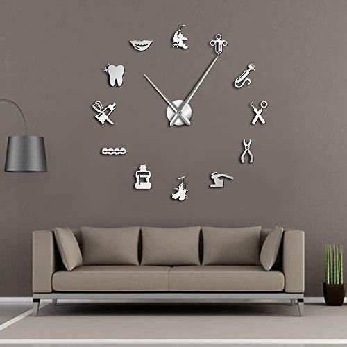 Reloj de pared gigante Dentista DIY Dental Doctor Reloj de pared de gran tamaño Espejo de aguja grande Dentista Decoración de oficina Dentista Regalo Doctor Art (Plata, 27 pulgadas)