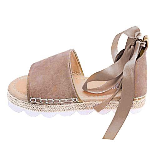 Minetom Sandalias Mujeres Bohemia Verano Planos Moda Casual Elegante Peep Toe Shoes Zapatos De Playa Color Caramelo Sandals