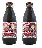 Organic Pomegranate Juice 33.8 fl.Oz 1 Ltr. - Pack of 2 Glass Bottles - High in...
