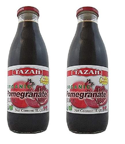 Organic Pomegranate Juice 33.8 fl.Oz 1 Ltr. - Pack of 2 Glass...