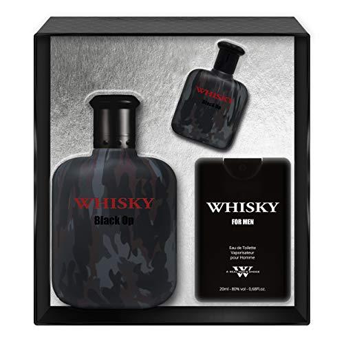 EVAFLORPARIS Whisky Black OP Coffret pour Homme Eau de Toilette 100 ml + Miniature 7.5 ml + Parfum de Voyage 20 ml Vaporisateur Spray Parfum Homme 127.5 ml