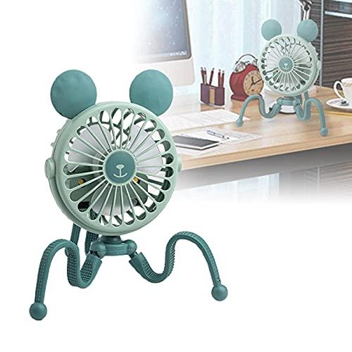 YfgthDSD Mini Octopus Fan 500mah with Flexible Tripod, Handheld USB Fan, Portable Fan, Mini Fan Gift, for Stroller Car Seat Treadmill Bike Desk GreenRoundEars