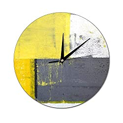 Mesllings Scale-Free Wall Clocks Abstract Painting Design with Yellow Grey and White Round Glass Wall Clock, Wall Decor Clocks for Kitchen, Office, Retro Hanging Clock, Home Decor Accessories