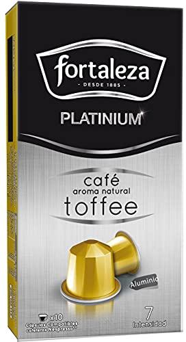 Café Fortaleza Platinium – Cápsulas Compatibles con Nespresso, de Aluminio, Café con Aroma Toffee, 100% Arábica, Tueste Natural, Pack 8x10 - Total 80 uds