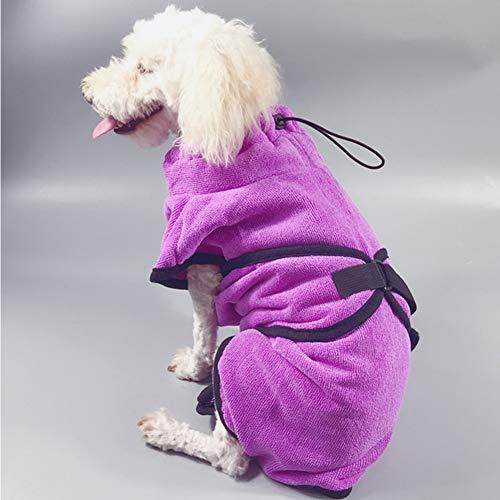 XDYFF Schnelltrocknend Hunde-Bademantel Saugfähiger, Schnell Trocknender Mantel Luxuriöse Mikrofaser,Pink,XL