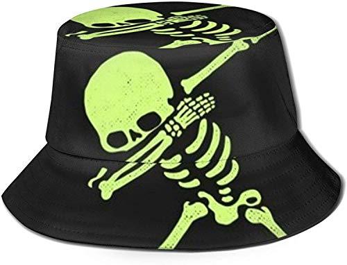 Dabbing Skeleton Print Bucket Hat Pescador Pesca Gorra para el Sol para Mujeres Viajes