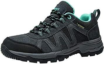 riemot Women's Hiking Shoes Waterproof Lightweight Walking Trekking Camping Shoes Breathable Non-Slip Outdoor Trail Running Sneakers Grey Green US 6/EU 37