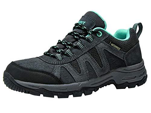 riemot Zapatillas Trekking para Mujer, Zapatos de Senderismo Calzado de Montaña Escalada Aire Libre Impermeable Ligero Antideslizantes Zapatillas de Trail Running, Verde Gris EU 41