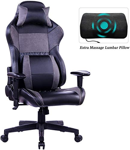 HEALGEN Gaming Office Chair with Large Lumbar Support,Reclining High Back Ergonomic Memory Foam Desk Chair,Racing Style PC chair gaming gray