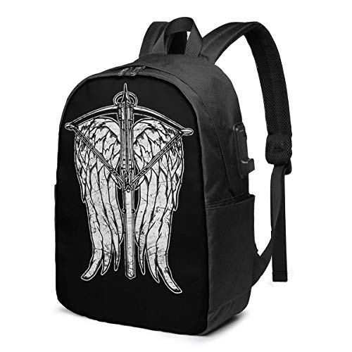 Angel Wings und Armbrust Trendy Travel USB Rucksack, 17 Zoll Computer Busin Rucksäcke Studentenrucksack Casual Hiking Daypack