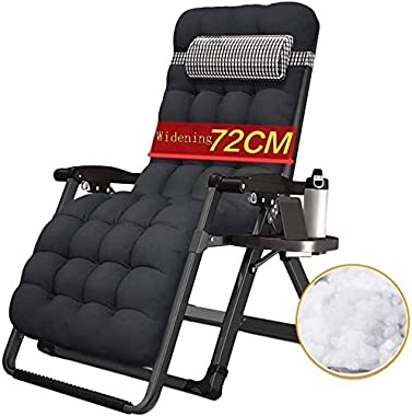 ADHW Recliner,Recliner Outdoor Chair,with Cup and Phone Holder,Outdoor Garden Rocking Chair Relaxing Chair,Beach Sunbathing (Size : Black)