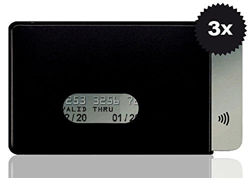 OPTEXX® RFID-Schutzhülle TÜV geprüft & zertifiziert Fred Schwarz für Kreditkarte | EC-Karte | Personal-Ausweis aus Hart-Plastik-Hülle sicheres Blocking von Funk Chips (Schwarz 3x)