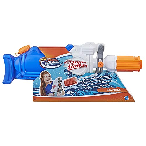 Super Soaker Hasbro E2907EU4 Hydra, waterpistool met ca. 1,9 liter waterreservoir, multicolor