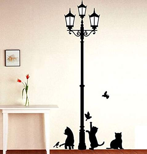 Sticker kunst aan de muur Populaire Oude Lamp Cats En Vogels Muur Sticker Muur Mural Home Decor Room Kids Decals Wallpaper