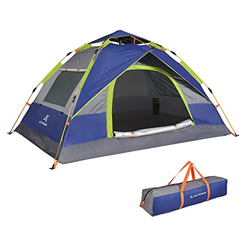 Extremus Mission Mountain Camping Tent, Family Tents for Camping, Waterproof, Quick Set-Up, 4 Person Tent, Gray/Navy Blue, 1 Door
