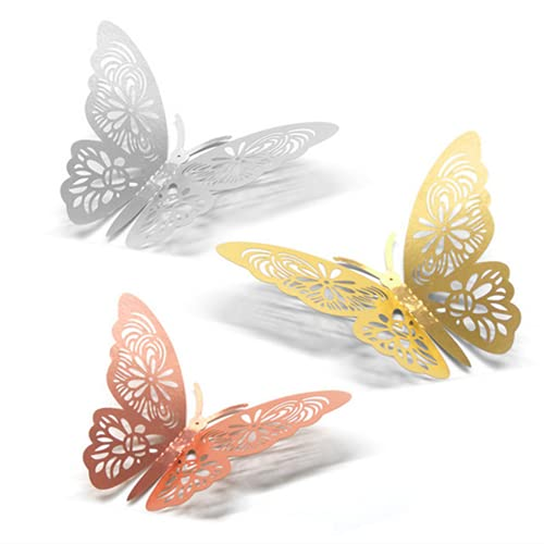 LXH Pegatinas de Pared de Mariposa 3D, Manualidades Multicolores, Mariposa, decoración artística, Manualidades, Mariposa, Exquisito Hueco, Pegatinas de Pared talladas, decoración de Fiesta,Oro