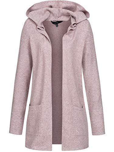 Vero Moda VMDOFFY LS Open Hood Cardigan GA Noos, Woodrose/Dettagli: Melange, XL Donna