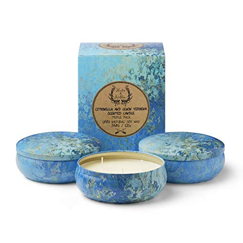 Hunter & Willow Citronella Candle with Lemon Verbena, Natural Soy Wax, 3 Wick, (36oz) Large Triple Pack, for Indoor, Outdoor, Patio and Camping.