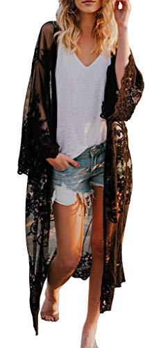Uniquestyle Damen Spitze Bikini Cover Up Sommer Strand Badeanzug Bedecken Pareos Kimono Cardigan Strandkleid Lang One Size Schwarz A