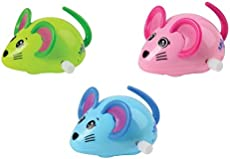 Multidirectional Premium Racing Mice Toys (Pack of 3 Colors: Pink, Blue & Green) Wind-up Jumping Mice Toys, Easter Birthday Party Supplies & Party Favors