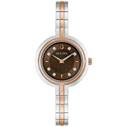 Brown Textured Dial Two-Tone Rose Gold Strap Watch (Model: 98P194)