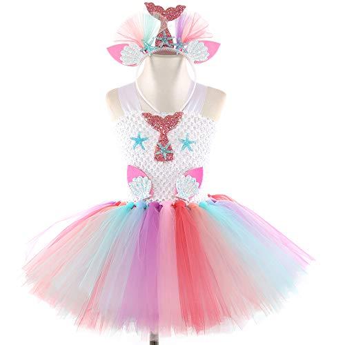 Disfraz de Sirena para niñas con tutú con Forro de algodón y Diadema de Estrella de mar para Disfraz, niños, Morado