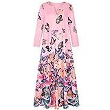 EMPERSTAR Vestidos Largos De Mujer Vestido Largo Bohemio De Talla Grande Vestido Largo con Estampado De Mariposa Vintage De Gran Tamaño con Bolsillos Rosa L